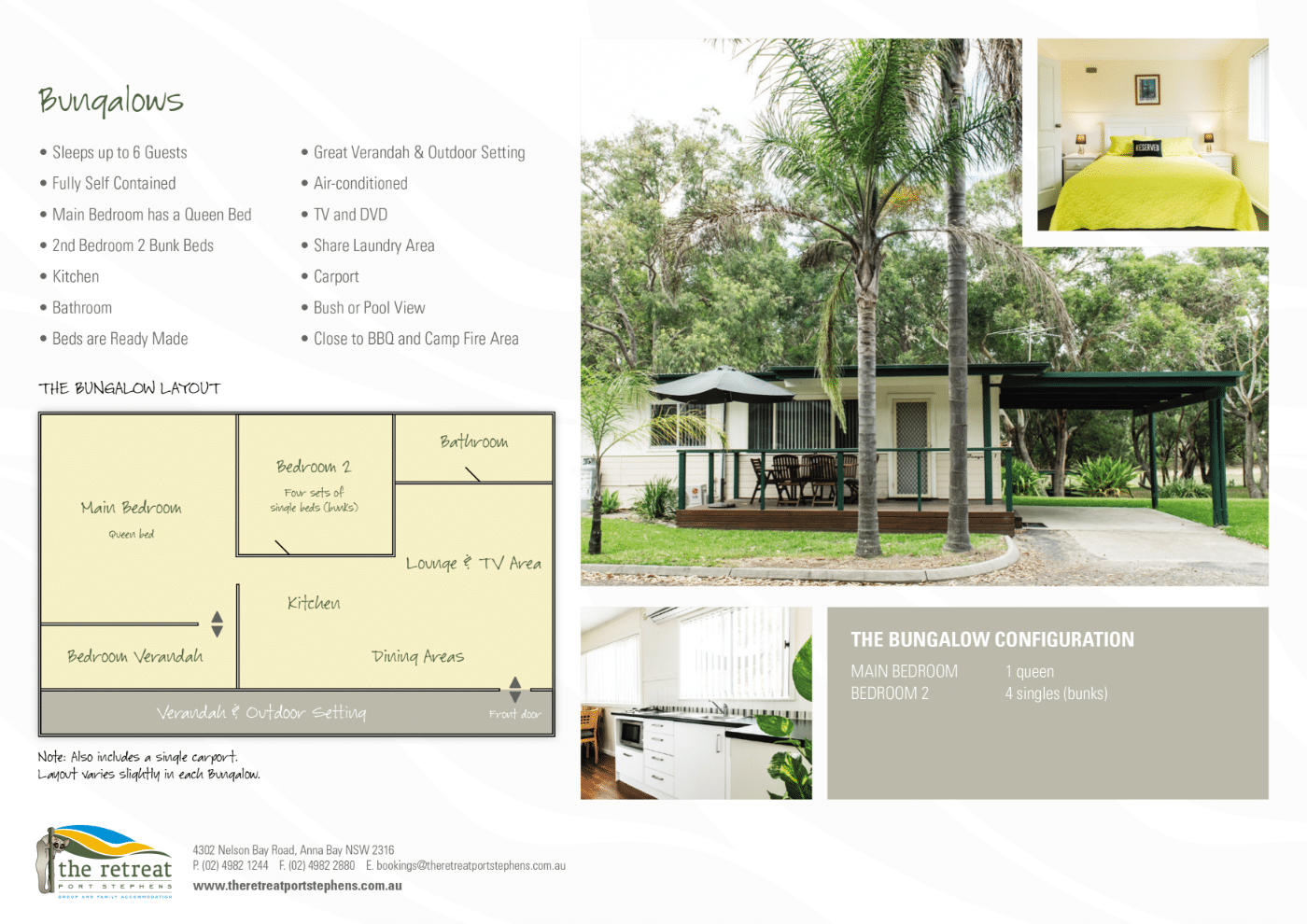 2020 TRPS Bungalows - Cabins - Port Stephens Accommodation - The Retreat Port Stephens