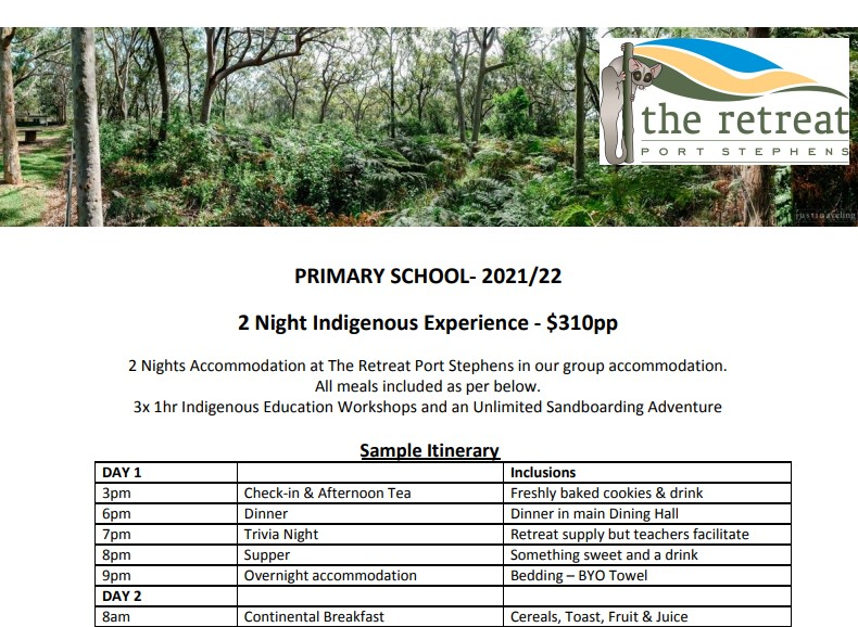 2 night indigenous - Accommodation For Primary School - The Retreat Port Stephens