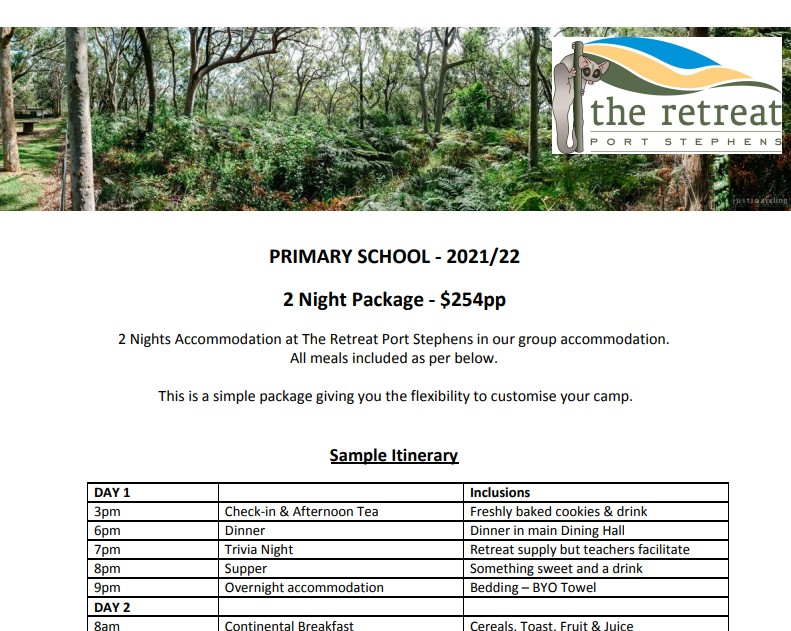2 night ps - Accommodation For Primary School - The Retreat Port Stephens