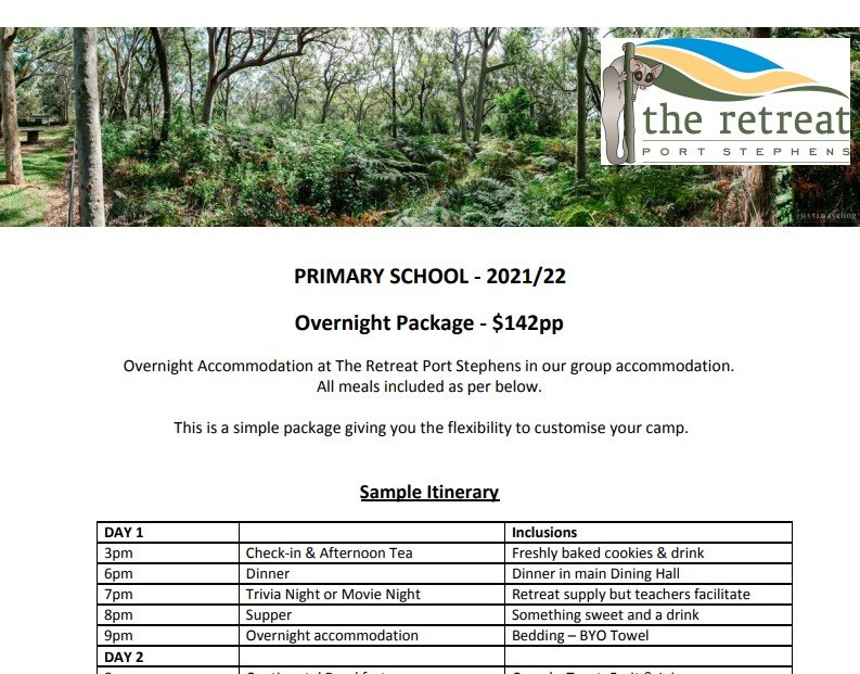 Overnight - Accommodation For Primary School - The Retreat Port Stephens