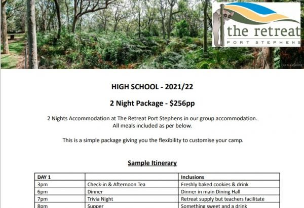 2 night hs - Accommodation For High School - The Retreat Port Stephens