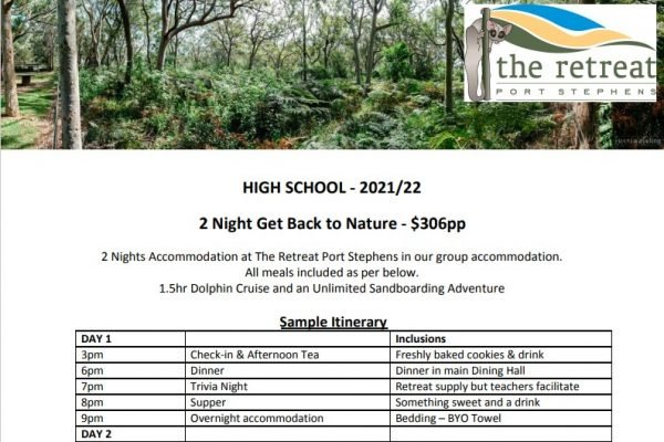 2 night nature - Accommodation For High School - The Retreat Port Stephens