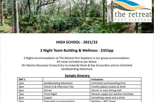 2 night team building - Accommodation For High School - The Retreat Port Stephens