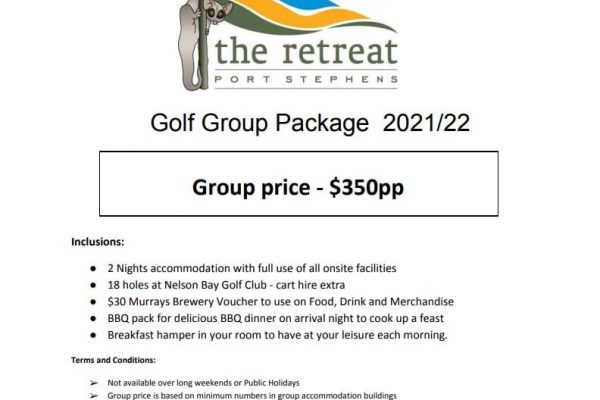Golf package - Accommodation Packages & Deals - The Retreat Port Stephens