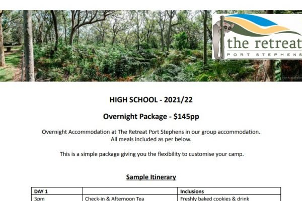 Overnight - Accommodation For High School - The Retreat Port Stephens