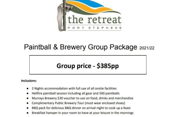 Paintball package - Accommodation Packages & Deals - The Retreat Port Stephens