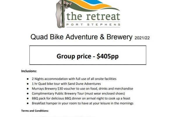 Quad bike package - Accommodation Packages & Deals - The Retreat Port Stephens