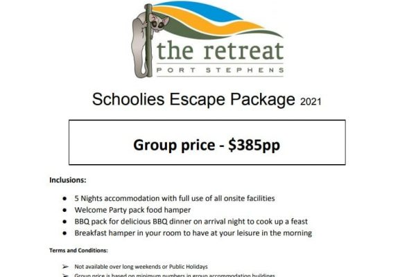 Schoolies package - Accommodation Packages & Deals - The Retreat Port Stephens